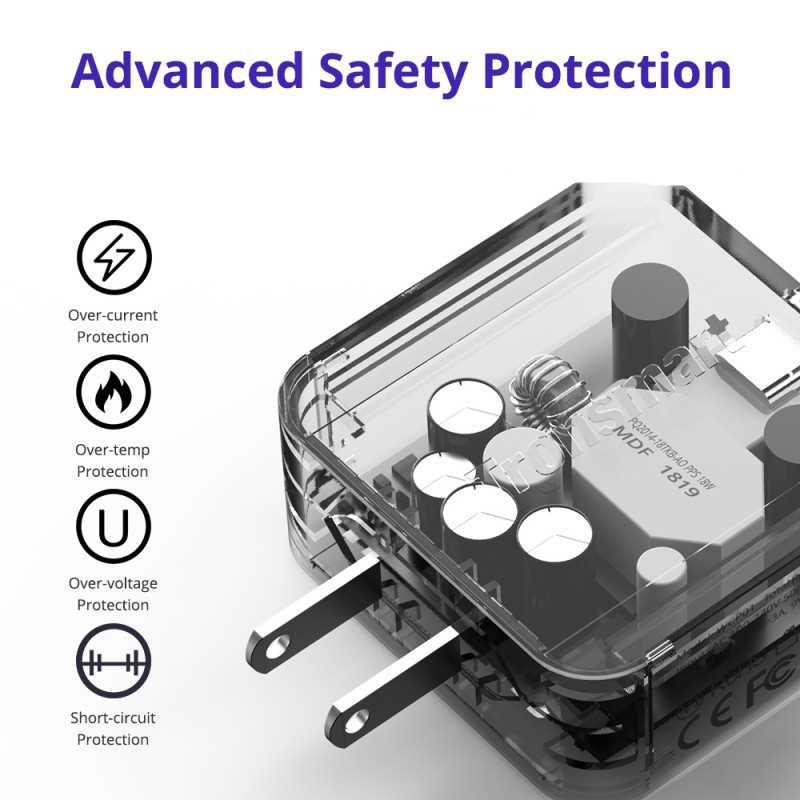 حماية أمان متقدمة: تضمن الحماية المتعددة استقرار وسلامة أجهزتك مع توفير أقصى سرعة شحن.