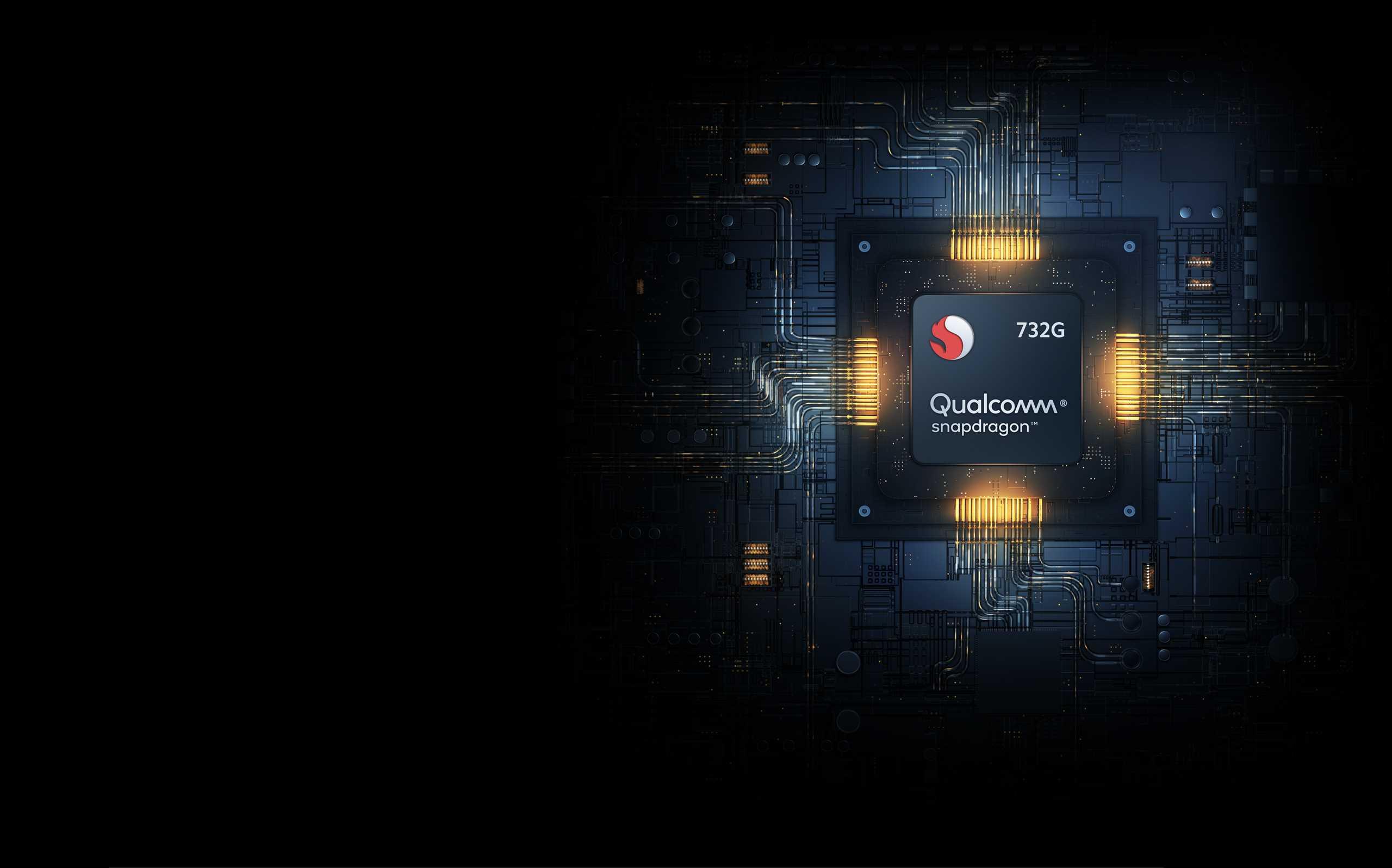 """يرمز الحرف """"G"""" إلى أداء اللعب القوي الذي يوفره المعالج الجديد، يتميز معالج Qualcomm® Snapdragon™ 732G بقدرة كبيرة على معالجة الرسومات وإمكانيات حوسبة متقدمة بالذكاء الاصطناعي"""