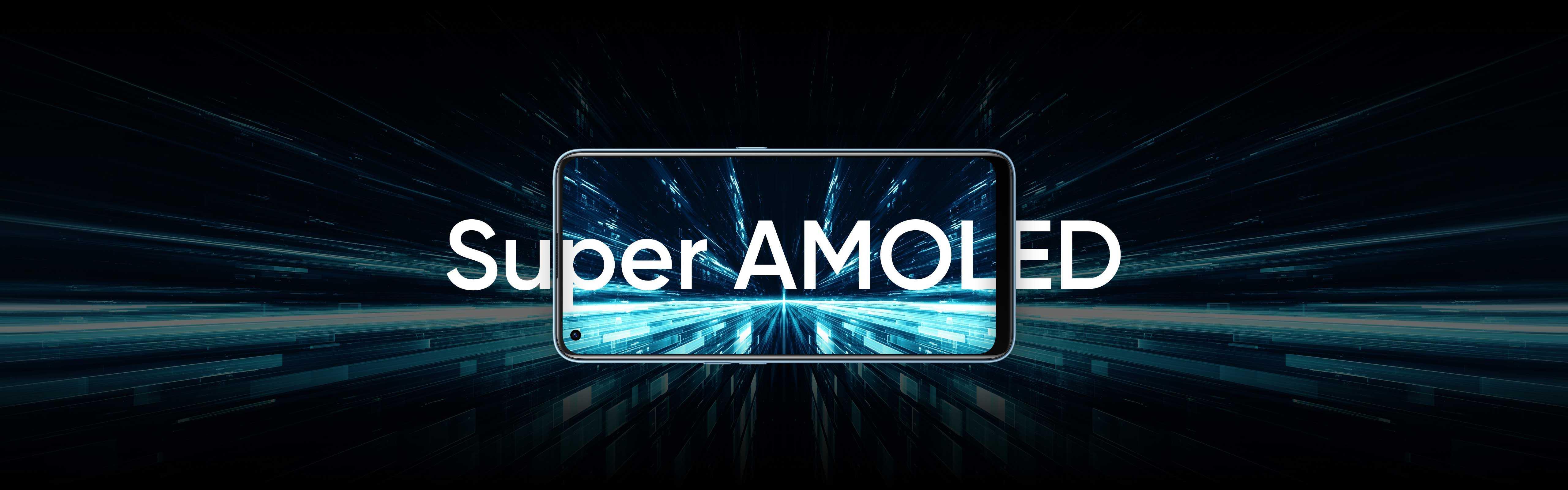 شاشة كاملة Super AMOLED 6.4 إنش، حيث تشكل الشاشة نسبة 90.8% من جسم الهاتف.