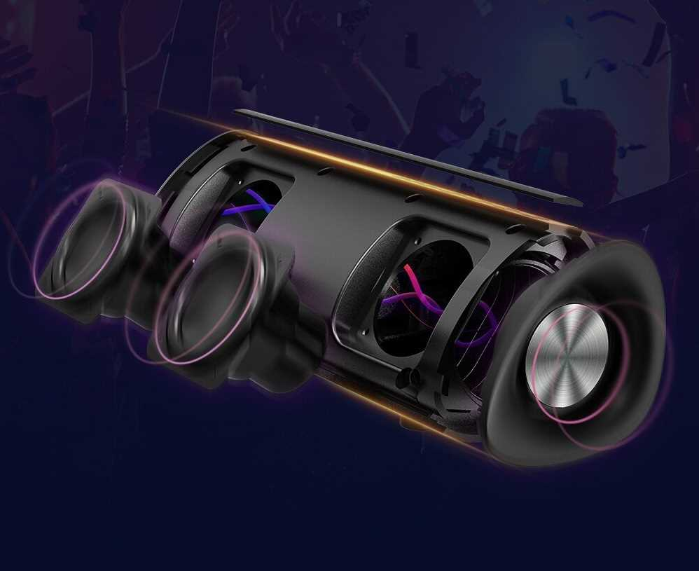 جرّب موسيقاك بألوان واضحة وضوح الشمس بفضل مخرج الصوت بقدرة 15W القوي وعزز سعادتك من خلال الجهير الأعمق الذي توفره مشعات المنفعلة المزدوجة ، مع صوت Hi-Fi ، الذي يوفر صوتًا مجسمًا بدون تشويش حتى عند الحد الأقصى لحجم الصوت.