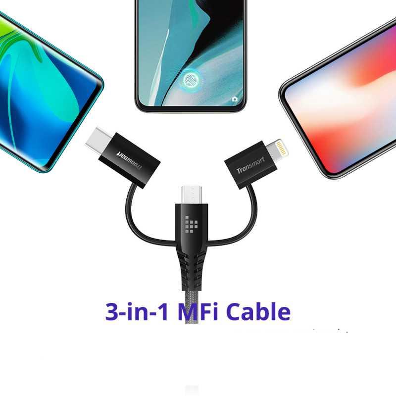 كبل 3 في 1: كبل واحد يسمح لك بالتبديل بسهولة بين Micro USB و USB Type C وموصل Lightning.
