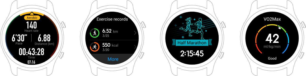 التدريب العلمي الذكي: حافظ على لياقتك مع ساعة HUAWEI WATCH GT التي توفر تدريبات للمبتدئين والمتقدمين في الركض في الوقت الفعلي بالاضافة إلى توجيهات وتفيدك بالنتائج في الوقت الفعلي.